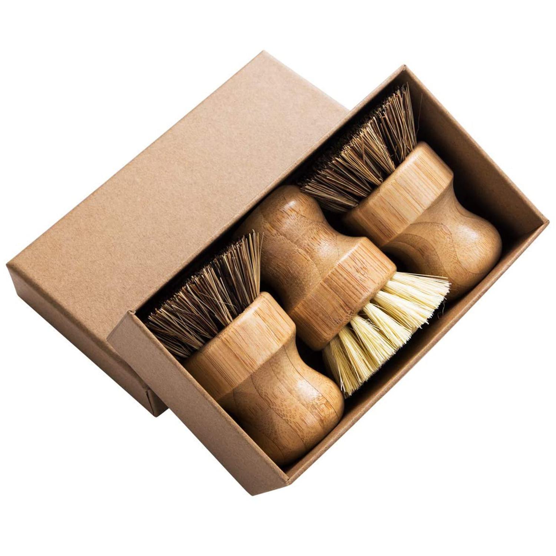 Palm Pot Brush- Bamboo Round 3 Packs