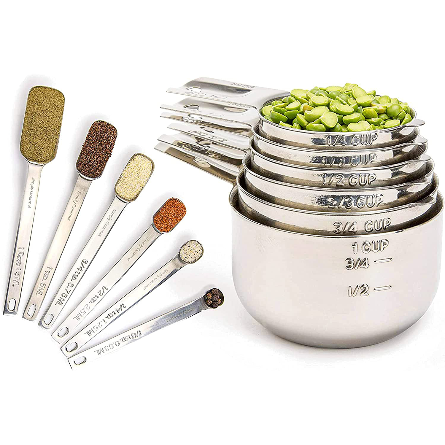 Simply Gourmet Measuring Cups and Spoons Set of 12 Stainless Steel for Cooking & Baking