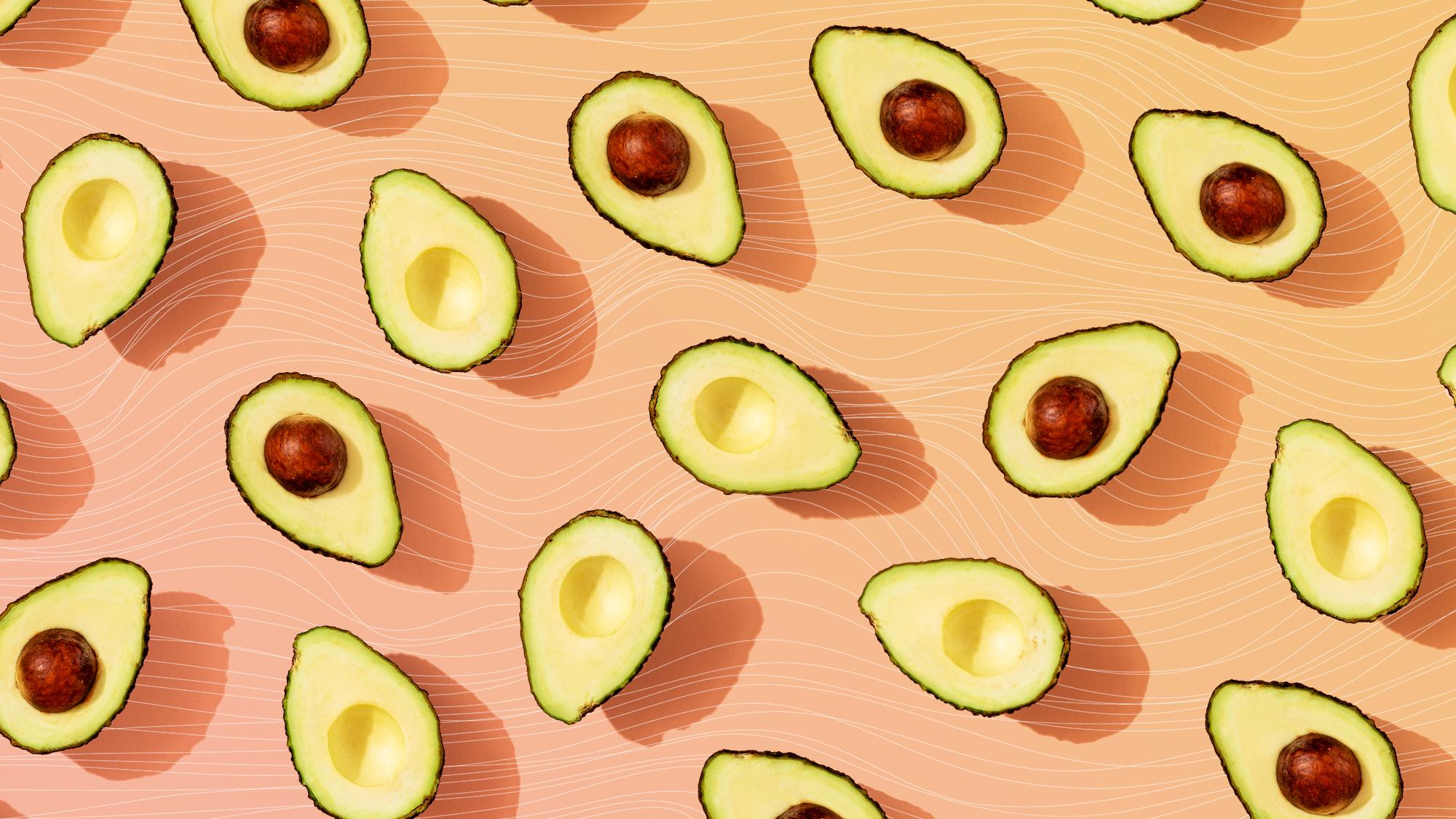 avocados on a designed background