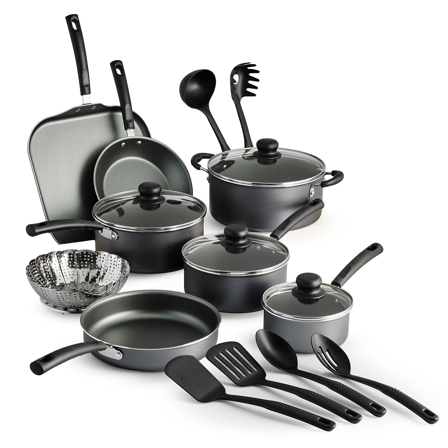 tramontina primaware 18 piece non-stick cookware set steel gray