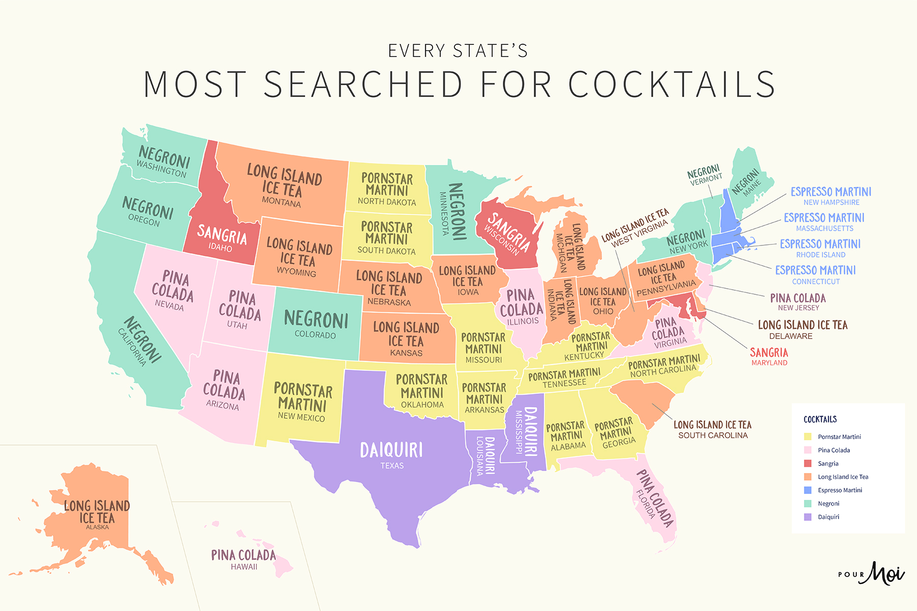 A map of The US' Most Searched For Cocktails