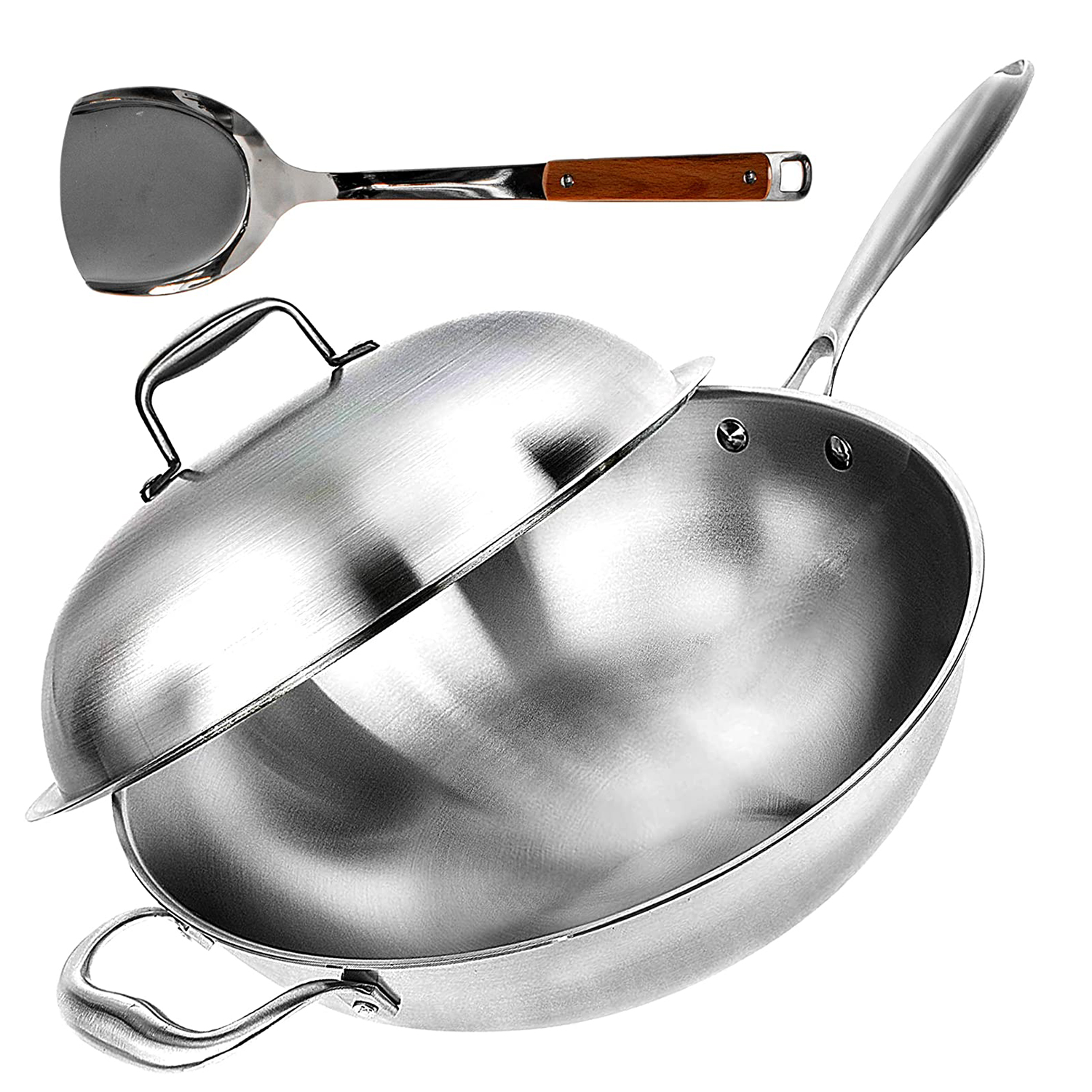 """Wok Pan with Lid - 13"""" Wide, 2mm Thick Stir Fry Frying Pan Stainless Steel"""