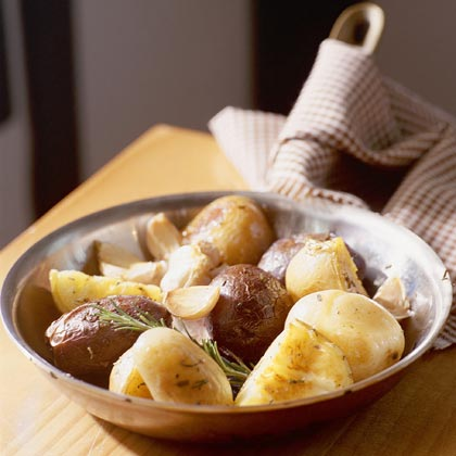 Roasted Variegated Potatoes With Garlic and Rosemary