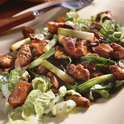 Caramelized Pork Over Lettuce