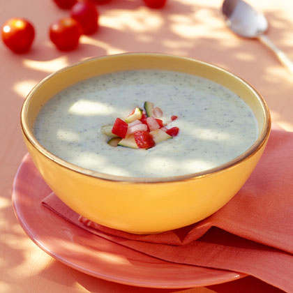 Chilled Zucchini Soup with Fresh Vegetable Salsa
