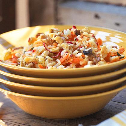 Lemony Rice Salad with Carrots and Radishes