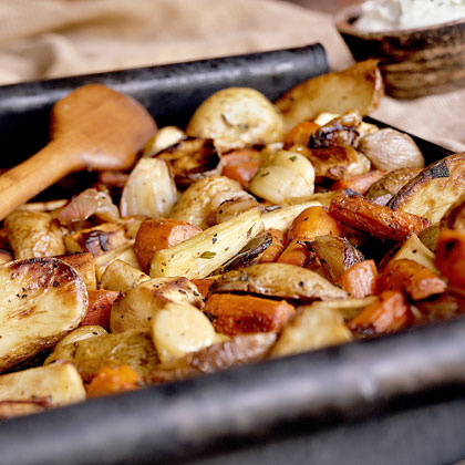 Roasted Potatoes, Parsnips, and Carrots with Horseradish Sauce
