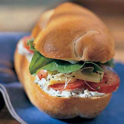 Arugula-Cheese Grinder with Basil Mayonnaise