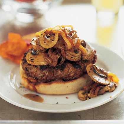 Open-Faced Burgers with Onion-Mushroom Topping