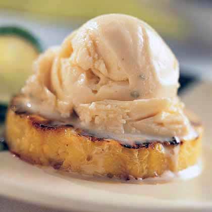 Peppercorn Ice Cream with Rum-Glazed Pineapple
