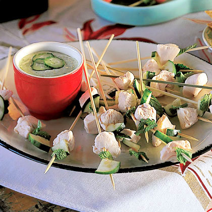 Celestial Chicken, Mint, and Cucumber Skewers with Spring Onion Sauce