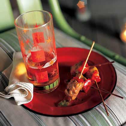 Spiced Pork-and-Red Pepper Skewers with Meteoric Mango Sauce