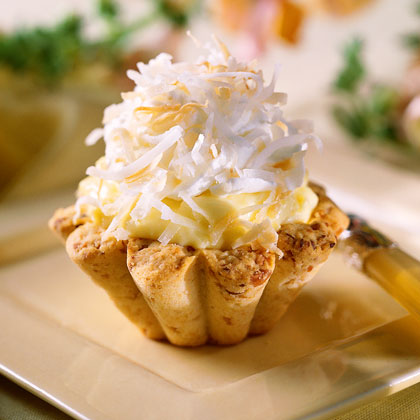 Coconut Cream Tarts with Macadamia Nut Crusts