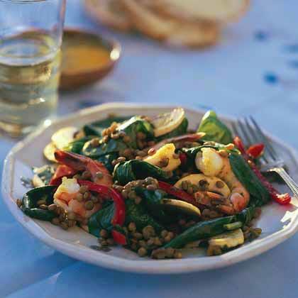 Curried Lentil-Spinach Salad with Shrimp