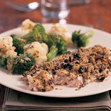 Baked Fish with Olive-Crumb Coating