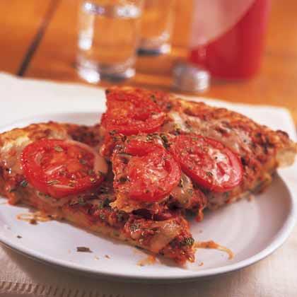 Roasted Pepper Pesto-Tomato Pizza
