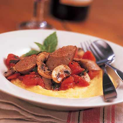 Parmesan Polenta with Sausage and Mushrooms