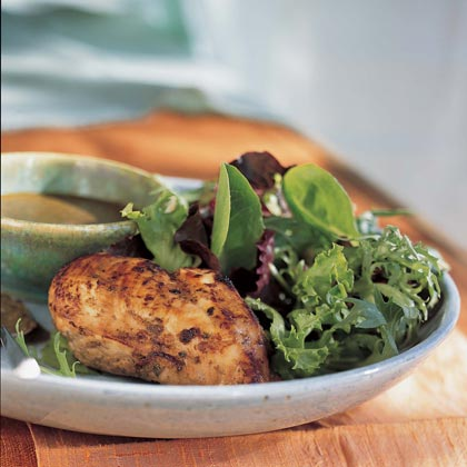 Balsamic Vinaigrette Chicken Over Gourmet Greens