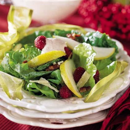Pear Salad with Raspberry Cream