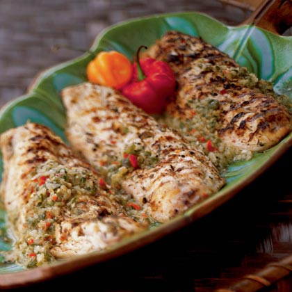 French West Indian Grilled Snapper with Caper Sauce