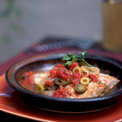 Filetes de Pescado a la Veracruzana (Fish Fillets Braised with Tomatoes, Capers, Olives, and Herbs)