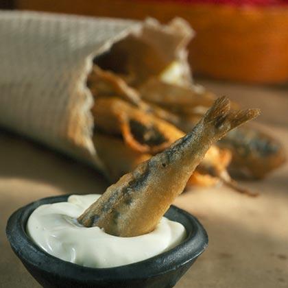 Beer-Battered Sardines with Wasabi Mayonnaise