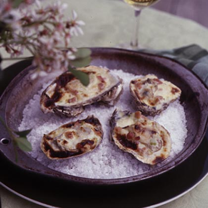 Broiled Oysters with Celery Cream and Virginia Ham