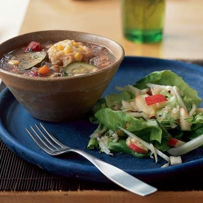 Vegetable Soup with Corn Dumplings