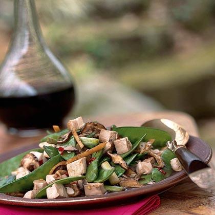 Stir-Fried Tofu, Shiitake Mushrooms, and Chinese Peas