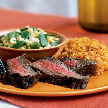 Flank Steak Marinated with Shallots and Pepper