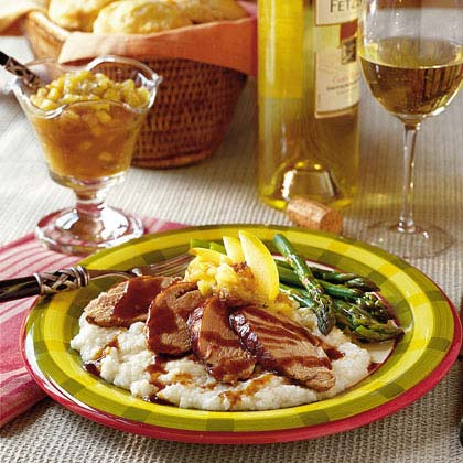 Maple-Chipotle Pork on Smoked Gouda Grits with Sweet Onion Applesauce