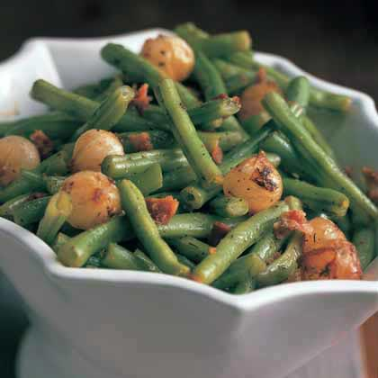 Sautéed Green Beans and Onions with Bacon