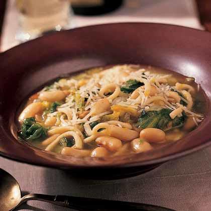 White Bean, Chicken Noodle, and Escarole Soup