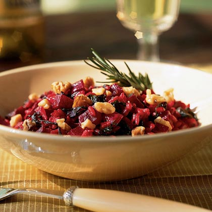Beet Risotto with Greens, Goat Cheese, and Walnuts