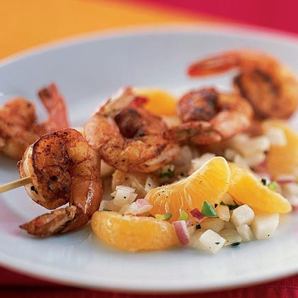 Spiced Shrimp Skewers with Clementine Salsa