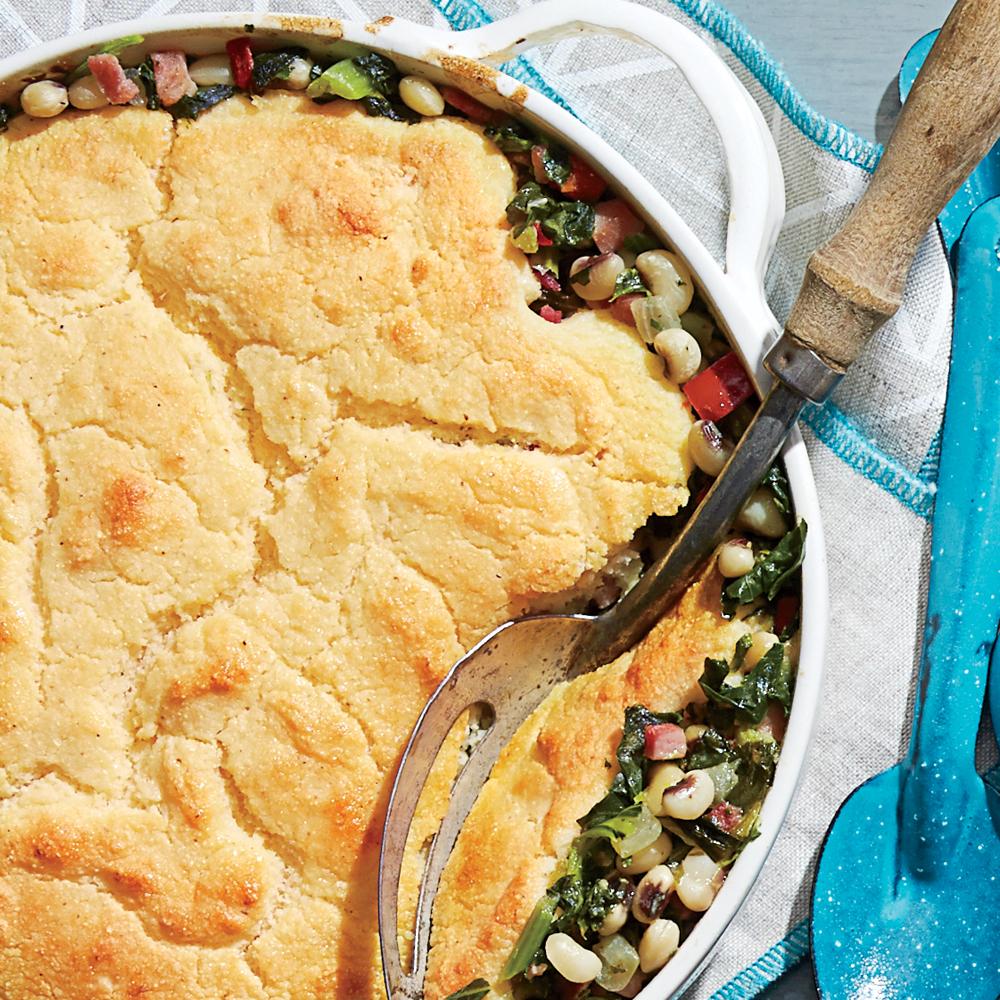 Ham-and-Greens Pot Pie with Cornbread Crust