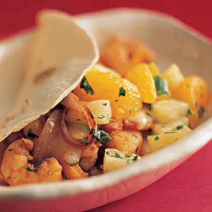 Soft Shrimp Tacos with Tropical Salsa
