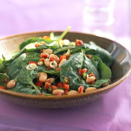 Spinach, White Bean, and Bacon Salad with Maple-Mustard Dressing