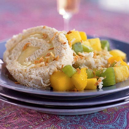 Five-Spice Toasted-Coconut Cake Roll with Tropical Fruit Compote