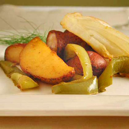 Garlic-Roasted Potatoes and Fennel