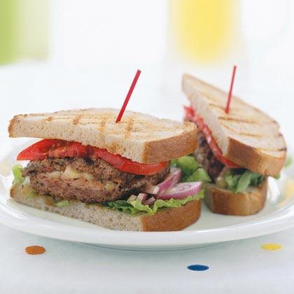 Ham and Swiss-Stuffed Burgers
