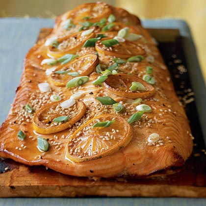Alder-Planked Salmon in an Asian-Style Marinade