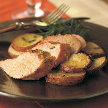 Hickory-Planked Pork Tenderloin with Rosemary Dijon Potatoes