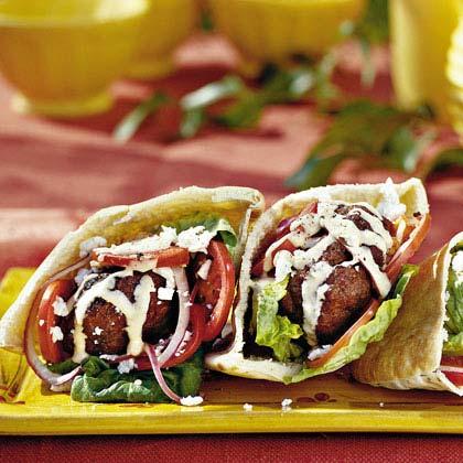 Gyro Burgers with Tahini Sauce