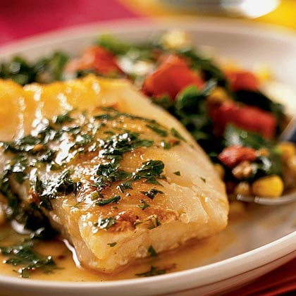 Sea Bass and Confetti Vegetables with Lemon-Butter Sauce