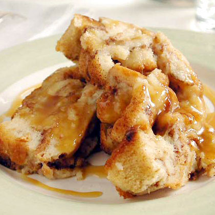 Cinnamon Bread Puddings with Caramel Syrup