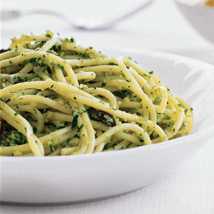 Pasta with Green Olive Pesto