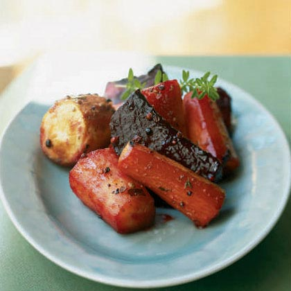Roasted Sweet-and-Sour Beets, Carrots, and Parsnips