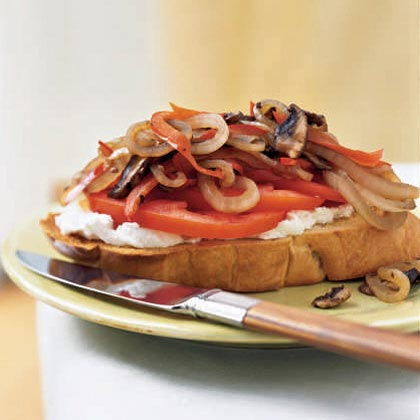Open-Faced Mushroom, Tomato, and Goat-Cheese Sandwich