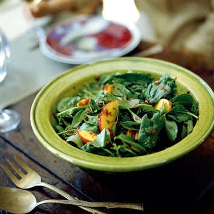 Spinach Salad with Nectarines and Spicy Pecans